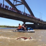Lexie passes under the Santa Tome Bridge in the Rio Corondo 57k in ARG.